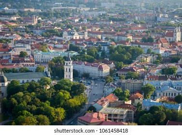 VILNIUS, LITHUANIA - SEP 16, 2017: Aerial View of Cathedral Square of Vilnius. Vilnius is known for its Old Town of beautiful architecture, declared a UNESCO World Heritage Site.