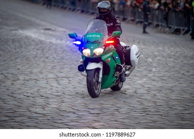 VILNIUS, LITHUANIA - SEP 22, 2018: Lithuanian Police Escort Motorcyclist on Yamaha FJR-1300 motorcycle. The Yamaha FJR1300 is sport touring motorcycle made by Yamaha Motor Company.