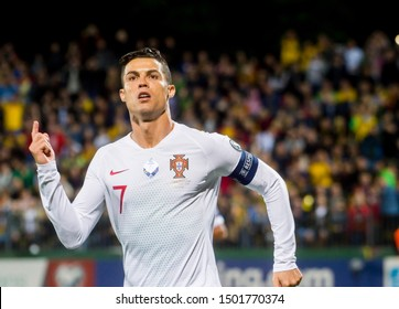 VILNIUS, LITHUANIA - September 10th 2019: Cristiano Ronaldo during a UEFA Euro 2020 qualifier between Lithuania and Portugal at LFF Arena.