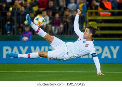 VILNIUS, LITHUANIA - September 10th 2019: Cristiano Ronaldo of Portugal controls the ball during the 2020 UEFA European Championships qualifying match between Lithuania and Portugal at LFF Arena