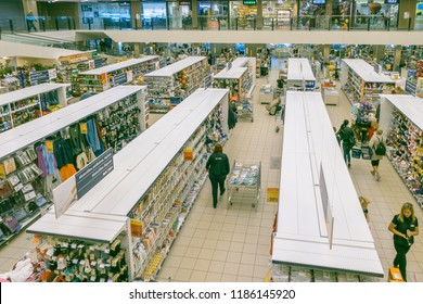 Vilnius, Lithuania - September 11, 2018: Maxima shop center interior. MAXIMA is the Lithuanian retail market leader.