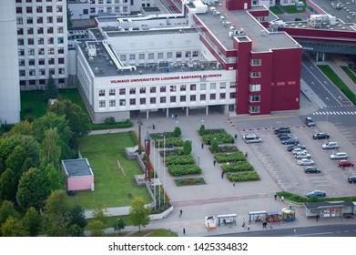 VILNIUS, LITHUANIA - SEPTEMBER 16, 2017: Vilnius University Hospital, Santaros Clinic, Center for Medical Genetics in Santariskes, Vilnius. The Center works closely with the Center of Heart and Chest.