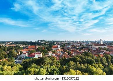 VILNIUS, LITHUANIA - September 2, 2017: view of Buildings around Vilnius, Lithuanian