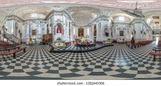 VILNIUS, LITHUANIA - SEPTEMBER, 2018: full seamless spherical panorama 360 by 180 degrees angle view interior baroque catholic church. 360 panorama in equirectangular projection, AR VR content