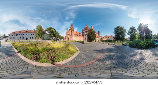 VILNIUS, LITHUANIA - SEPTEMBER 2018, Full seamless 360 degrees angle view panorama in old city with beautiful decorative medieval style architecture in equirectangular spherical projection. vr content