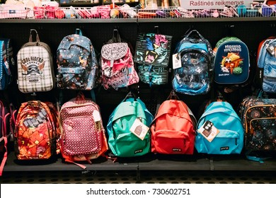 Vilnius, Lithuania - September 21, 2017: View Of Different Backpacks Bookbags Kitbags Knapsacks On Hunger In Store Of Shopping Center