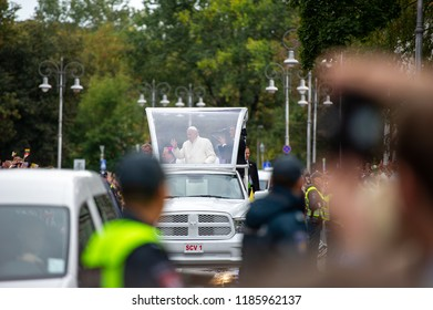 Vilnius, Lithuania - September 22, 2018: Pope Francis, in his papamobile, is welcomed by the crowd as he rides to a meeting with youth in Vilnius Cathedral Square.