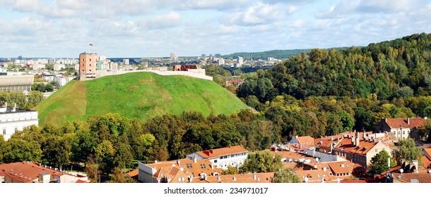 VILNIUS, LITHUANIA - SEPTEMBER 24: Vilnius city aerial view from Vilnius University tower on September 24, 2014, Vilnius, Lithuania.