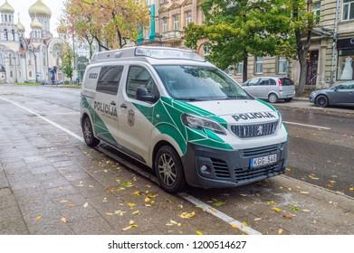 Vilnius, Lithuania - September 28, 2018: Lithuanian policija car. Policija is the lithuanian word for police.