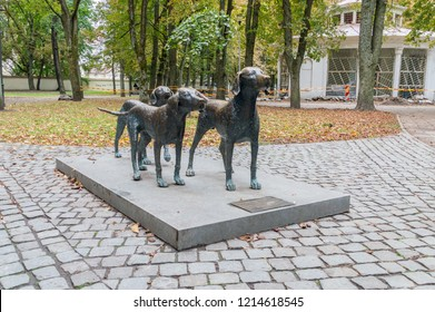 Vilnius, Lithuania - September 28, 2018: Lithuanian Hound bronze sculpture. The Lithuanian Hound is a rare, medium-size hunting dog from Lithuania.