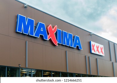 Vilnius, Lithuania - September 28, 2018: Maxima XXX logo and sign on the store. Maxima is a Lithuanian retail chain operating in Lithuania, Latvia, Estonia, Poland and Bulgaria.