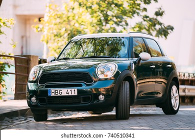 Vilnius, Lithuania - September 29, 2017: Front View Of Green Color Mini Cooper Car Parking At Street