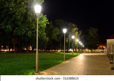 VILNIUS, LITHUANIA - SEPTEMBER 3 : Vilnius Cathedral place evening view on September 3, 2015, Vilnius, Lithuania.