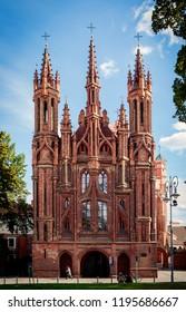 Vilnius, Lithuania - September 30, 2018: Facade of the Church of St. Anne, a prominent landmark in the Old Town of Vilnius.