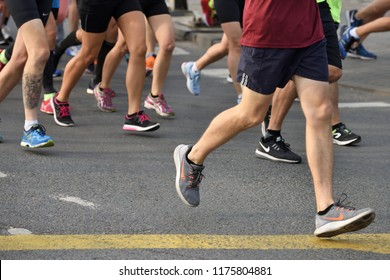 Vilnius, Lithuania - September 9: Group of unidentified runners in Vilnius Old Town on September 9, 2018 in Vilnius Lithuania. Vilnius is the capital of Lithuania and its largest city.