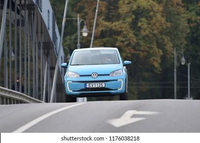 Vilnius, Lithuania - September 9: Volkswagen Spark electric car on September 9, 2018 in Vilnius Lithuania. Volkswagen, shortened to VW, is a German automaker.