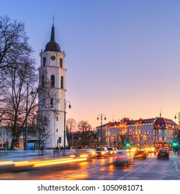 Vilnius - Lithuania. View of the Vilnius Cathedral at Dusk.
