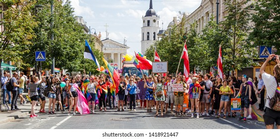 Vilnius, Lithuania-June 08.2019- National Association of Lesbian, Gay, Bisexual and Transgender Rights Lithuanian Gay Union (LGA), organized gay and lesbian marches, LGBT (Baltic pride Vilnius 2019).