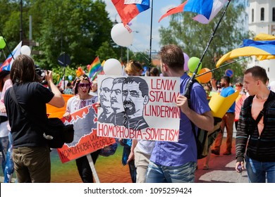 Vilnius, Lithuania-June 18.2016.National Association of Lesbian, Gay, Bisexual and Transgender Rights Lithuanian Gay Union (LGA), organized gay and lesbian marches on Vilnius city streets