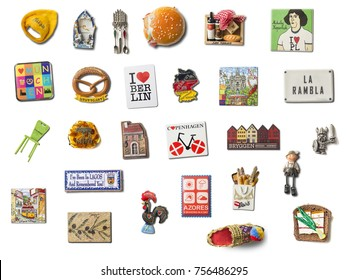 VILNIUS, LITHUANIA-NOVEMBER 15, 2017: Set of souvenir refrigerator magnets isolated on white from different European cities. Refrigerator magnets are popular souvenir and collectible objects.