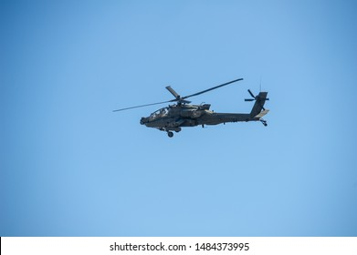 VILNIUS - MAR 22: US Army Apache AH-64 Helicopter during the Dragoon Ride Exercise on March 22, 2015 in Vilnius, Lithuania. The Boeing AH-64 Apache is a four-blade, twin-turboshaft attack helicopter.