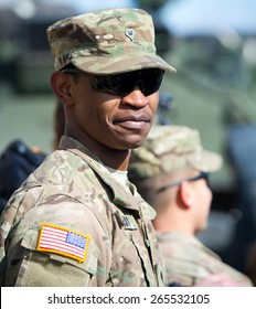 VILNIUS - MAR 22: US Army Soldier during the Dragoon Ride exercise on March 22, 2015 in Vilnius, Lithuania.