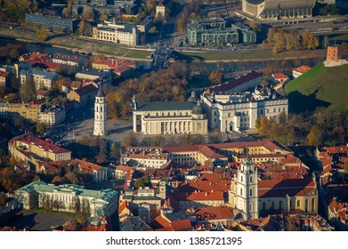 VILNIUS - OCT 18: Aerial View of Cathedral Square of Vilnius on Oct. 18, 2014 in Vilnius, Lithuania. The Cathedral of Vilnius is the heart of Catholic spiritual life in Lithuania.