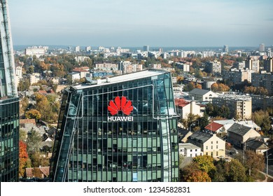 Vilnius, October 10, 2018: Huawei logo on a building in Vilnius, Lithuania. Huawei is leading global provider of information and communications technology infrastructure and smart devices
