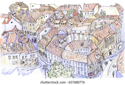 Vilnius Old Town panorama. Old Town cityscape. Lithuania. Vilniaus senamiestis. Hand-drawn colored pencil  sketchy style illustration. For postcard, greeting card, travel guide, poster.