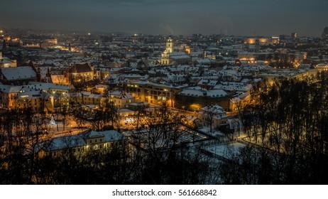 Vilnius old town panorama at night.