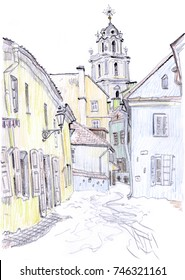 Vilnius Old Town street view in winter with The Tower of St John's Church. Lithuania. Hand-drawn colored pencil sketchy style illustration. For postcard, Christmas greeting card, travel guide, poster.