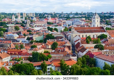 Vilnius, panoramic view of the Old Town from the observation deck of the tower of Gediminas