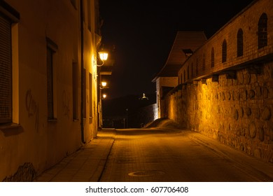 Vilnius street during night in Old Town
