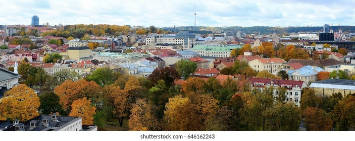 Vilnius town aerial view from Gediminas castle tower