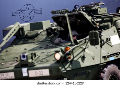 Vilnius/Lithaunia Juny 4, 2014 US Army Stryker Armored Personnel Carriers (APC)