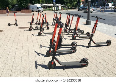 Vilnius/Lithuania - 10/06/2019: Pile of scooters in the city