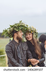 Vilnius/Lithuania, 23 june 2018. Saint Jonas, Dew Holiday Festival (Rasos svente, Jonines, Midsummer Day) is a midsummer folk festival celebrated all around Lithuania. Joung couple with wreaths