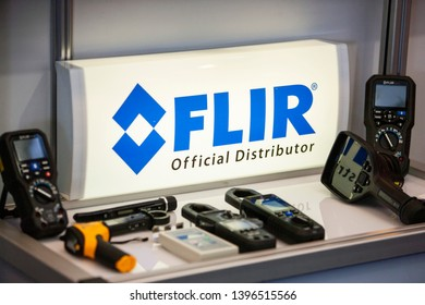 Vilnius/Lithuania April 24, 2019 The FLIR sign. The company specializes in the design and production of thermal imaging cameras, components and imaging sensors.