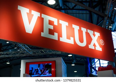 Vilnius/Lithuania April 24, 2019  Velux logo on their retailer for Lithuania. Velux is a Danish brand manufacturing skylight and roof windows, spread worldwide