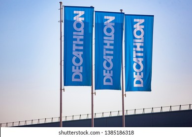Vilnius/Lithuania April 30. 2019  Decathlon sign on a wall. Decathlon is a french company and one of the world's largest sporting goods retailers