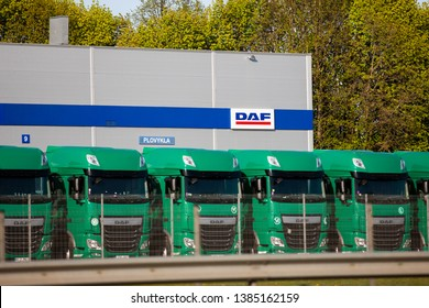 Vilnius/Lithuania April 5, 2019  DAF Trucks is a Dutch truck manufacturing company and a division of Paccar group.