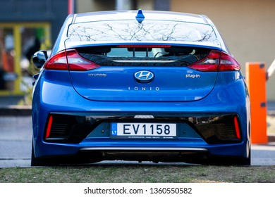 Vilnius/Lithuania April 5, 2019  Hyundai Ioniq is a compact five-door liftback manufactured and marketed by Hyundai in hybrid, plug-in hybrid and all-electric variants.