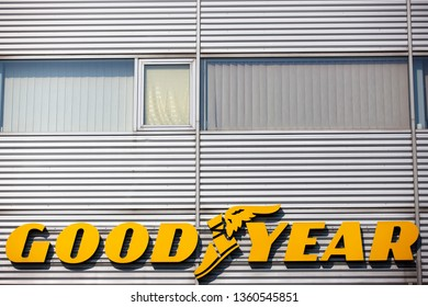 Vilnius/Lithuania April 5, 2019  Sign for Goodyear tire shop. The Goodyear Tire & Rubber Company is an American tire manufacturing company.