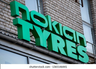 Vilnius/Lithuania April 6,2019  Nokian Tyres sign on a wall. Nokian Tyres headquartered in Nokia, Finland, produces tyres for cars, trucks, buses and heavy duty equipment
