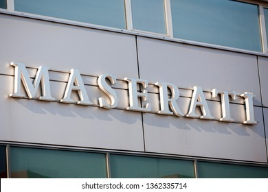 Vilnius/Lithuania April 8, 2019  Maserati Dealership Signage. Maserati is a Luxury Car Manufacturer Based in Italy