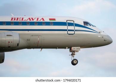 Vilnius/Lithuania August 14, 2020 Belavia Embraer ERJ-175LR (ERJ-170-200 LR) (Reg: EW-341PO)