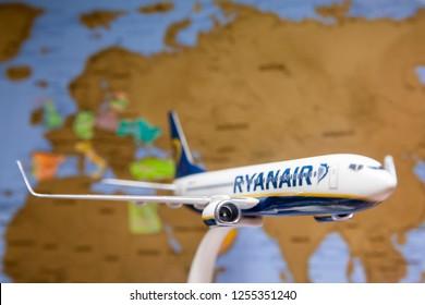 Vilnius/Lithuania December 11, 2018 Boeing 737-800 of Ryanair