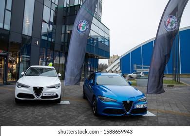 Vilnius/Lithuania December 14, 2019 Alfa Romeo Stelvio and Alfa Romeo giulia. Alfa Romeo  is an Italian luxury car manufacturer.