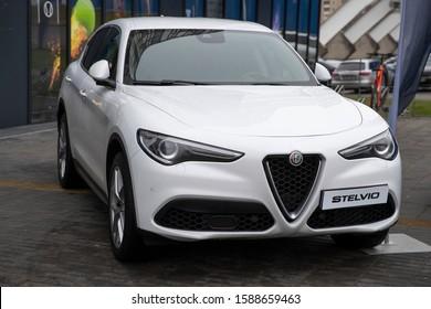Vilnius/Lithuania December 14, 2019 Metallic white Alfa Romeo Stelvio. Type 949 is all wheel drive compact luxury crossover SUV manufactured by Alfa Romeo