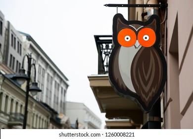 Vilnius/Lithuania December 9, 2018 Hooters exterior and logo.